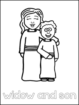 Elijah and the Widow Printable Color Sheets  Preschool Bible Study  Curriculum