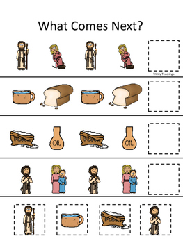 Elijah and the Widow What Comes Next printable game. Preschool Bible Study.