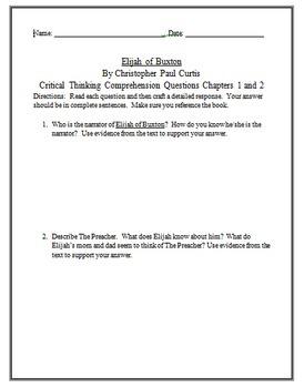 Elijah of Buxton Novel Study Short Answer, Figurative Language, Writing EDITABLE