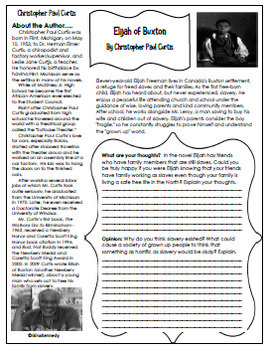 Elijah of Buxton Novel Study & Enrichment Project Menu