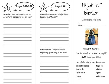 Elijah of Buxton Trifold - Wonders 6th Grade Unit 5 Week 2