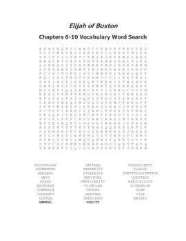 Elijah of Buxton Vocabulary Word Search Packet