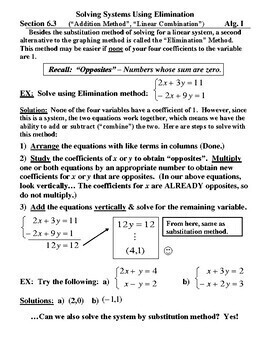 Elimination / Addition Method , Word Prob - Solving Linear Systems of Equations