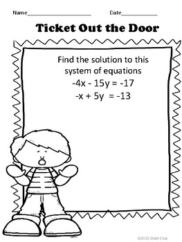 Systems of Equations No Prep Lesson
