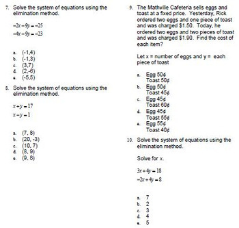 Elimination Method Systems of Equations Intro Question Bank for ExamView