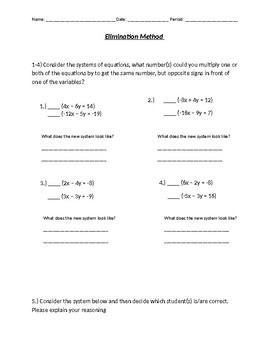 Elimination Method Worksheet