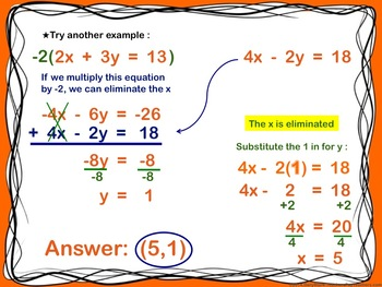Elimination - Systems of Equations - PowerPoint  Introduction Lesson