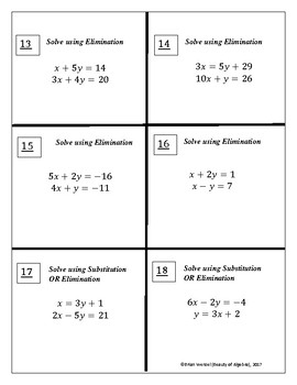 Elimination and Substitution Method Task Cards (24 Cards)