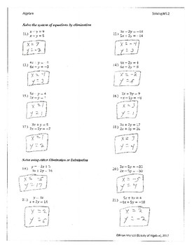 Elimination and Substitution Method Worksheet with Key