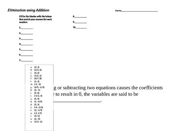 Elimination using Addition