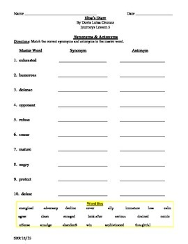 Journeys Common Core 5th - Elisa's Diary Supplemental Packet for the SLP