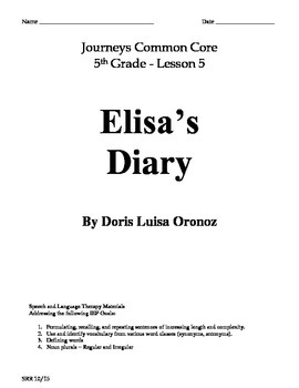 Journeys Common Core 5th - Elisa's Diary Supplemental Pack