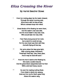 """""""Eliza Crosses the River"""" by Harriet Beecher Stowe Poem and Questions"""