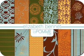 Elizabeth Bennet-Inspired Autumn Patterned Digital Paper Pack