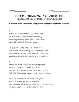 Elizabeth Bishop Poem - assignment, worksheet - poem plus exercise