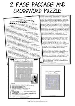 Elizabeth Cady Stanton: Biography Passage and Comprehension Crossword Puzzle