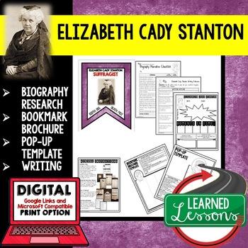 Elizabeth Cady Stanton Biography Research, Bookmark Brochure, Pop-Up, Writing