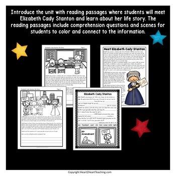 Elizabeth Cady Stanton Biography Unit w/Articles, Activities & Character Traits