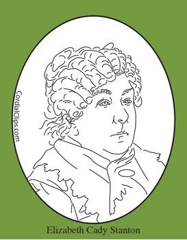 Elizabeth Cady Stanton Clip Art, Coloring Page or Mini Poster
