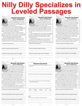 Elizabeth Cady Stanton ALL-READERS-COVERED 5 Level Passages Fluency Main Idea