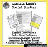 Elizabeth Cady Stanton Declaration of Sentiments Document Analysis