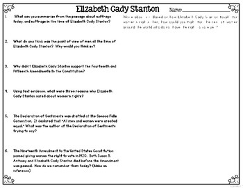 Elizabeth Cady Stanton Differentiated Reading Passages & Questions