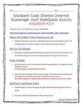 Elizabeth Cady Stanton Internet Scavenger Hunt WebQuest Activity
