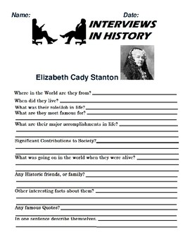 Elizabeth Cady Stanton Research and interview Assignment