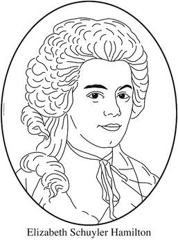 """Elizabeth """"Eliza"""" Schuyler Hamilton Clip Art or Coloring Page"""