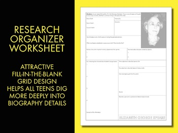 Elizabeth George Speare Author Study Worksheet, Easy Biography Activity, CCSS