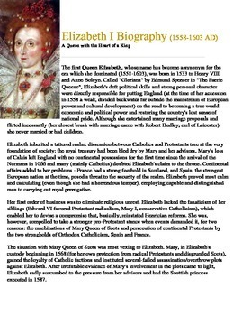 Elizabeth I Biography Reading and Questions