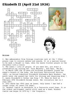 Elizabeth II Crossword