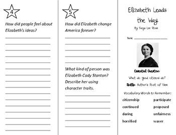 Elizabeth Leads the Way Trifold - Wonders 3rd Grade Unit 5 Weeks 1-2 (2020)