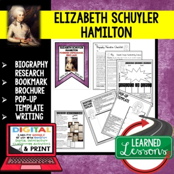 Elizabeth Schuyler Hamilton Biography Research, Bookmark, Pop-Up, Writing