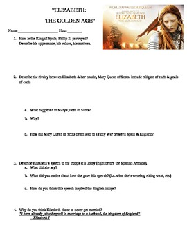Elizabeth:  The Golden Age Movie Questions