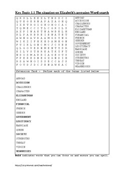 Elizabethan England Early Reign Word Search