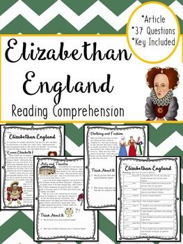Elizabethan Era in England, Queen Elizabeth I, Henry VIII, article, questions