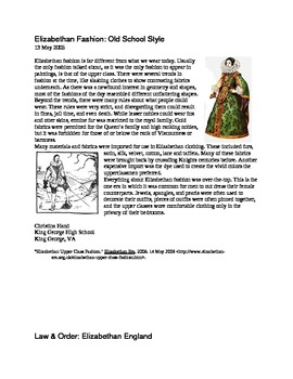 Elizabethan Times Informational Articles