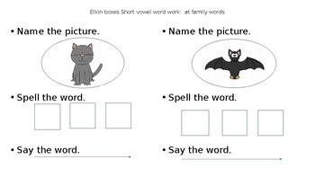 Elkin boxes with short vowel a word families