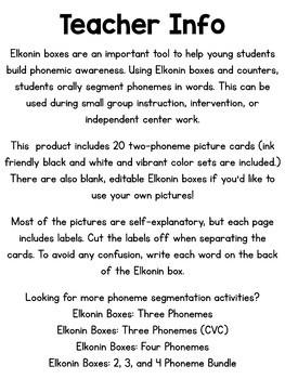 Elkonin Boxes: Phoneme Segmentation - Two Phonemes