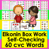 Elkonin Boxes CVC Segmenting Center Activities - 60 Self-Correcting Cards-CCSS