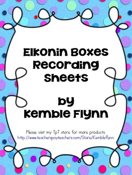 Elkonin Boxes Recording Sheets