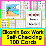 Elkonin Boxes Segmenting 2, 3, 4, & 5 Phonemes - 100 Self-Checking Cards