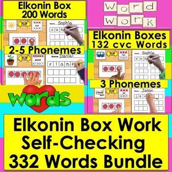 Elkonin Boxes Segmenting Center BUNDLE 2, 3, 4, & 5 Phonemes-160 Self-Correcting