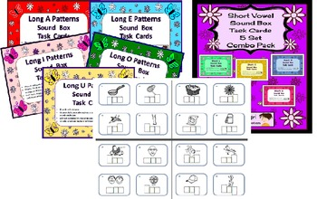 Elkonin / Sound Box Task Cards and Assessments Combo Pack --Literacy Centers!