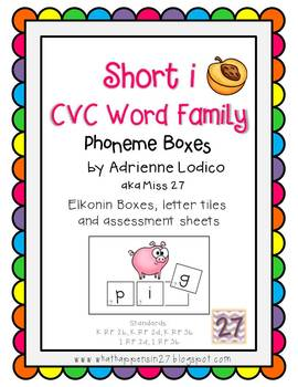 Elkonin boxes with Short i CVC word families CCSS ELA Foun