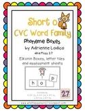 Elkonin boxes with Short o CVC word families CCSS ELA Foun