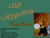 Ella Enchanted Choice Board Novel Study Activities Menu Book Project Rubric