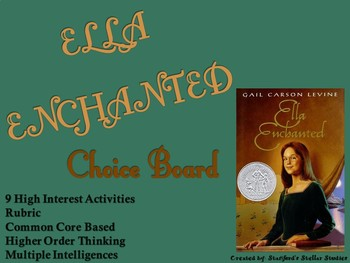 Ella Enchanted Choice Board Novel Study Activities Menu Book Project Rubric