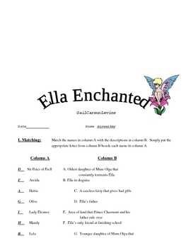 Ella Enchanted Comprehension Test & Answer Key